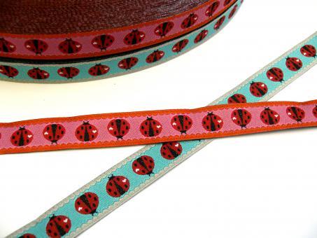 "1 m Webband Farbenmix  ""Ladybird candy /sky"" 12 mm Design Cherry Picking"