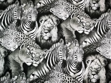 """0,1 m Druckstoff  """"Wildlife""""  110 cm br."""