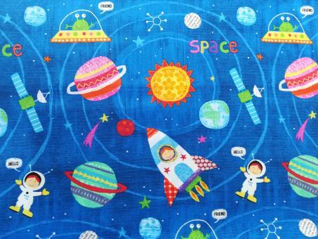 "0,1 m Baumwoll Druckstoff  ""Space"" 115 cm br."