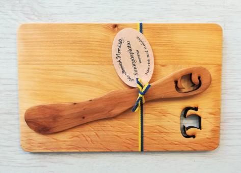 "Frühstücksbrettchen mit Buttermesser ""Wikinger"" ca. 19x12 cm"