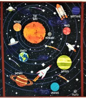 """Paneel feiner Baumwolldruck """"Lost in Space"""" 114 cm br."""