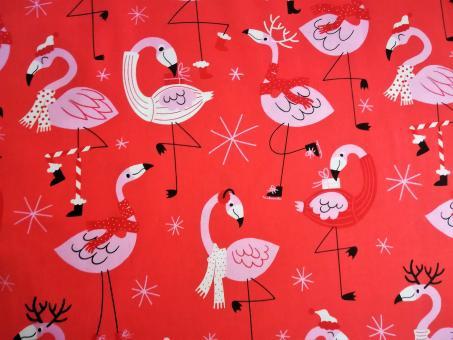 """0,1 m Druckstoff  """"Weihnachts-Flamingo"""" ca. 114 cm br."""