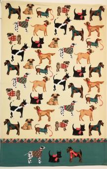 """Baumwoll-Geschirrtuch """"Hunde III"""" ca. 48x74 cm"""