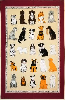 """Baumwoll-Geschirrtuch """"Hunde II"""" ca. 48x74 cm"""