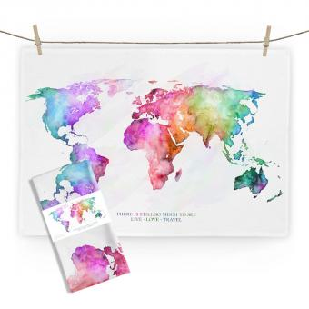 """Baumwoll-Geschirrtuch """"World Map"""" ca. 70x50cm"""