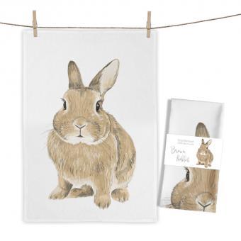 """Baumwoll-Geschirrtuch """"Brown Rabbit"""" ca. 70x50cm"""
