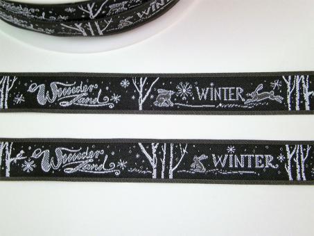 """1 m Webband """"Winterwunderland"""" 16 mm br."""
