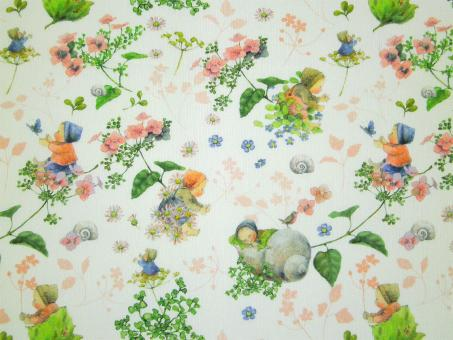"0,1 m Baumwollstoff ""Blütenbabies rosa"" 145 cm breit"