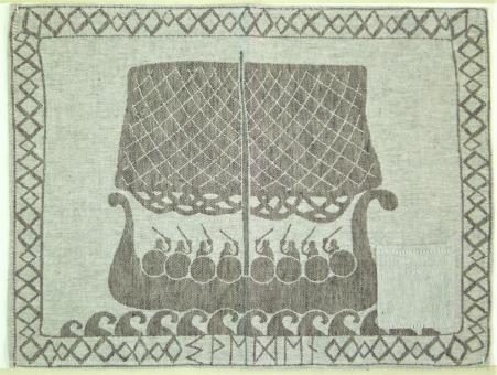 """gewebtes Halbleinen-Tischset """"Wikinger"""" ca. 45x35 cm"""