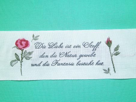 """Webetikett """"Die Liebe"""" ca. 50x120 mm Herz Hochzeit Rosen"""