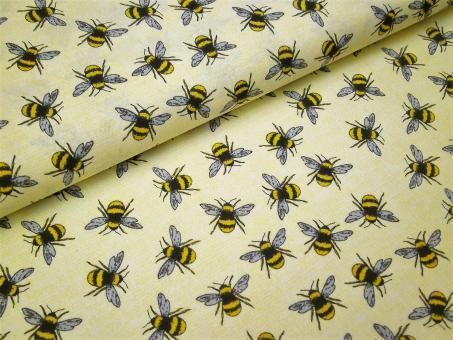 """0,1 m Baumwoll-Druckstoff  """"Bee Happy"""" Bienen ca. 114 cm Breite"""