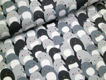 "0,1 m Druckstoff  ""Pinguine"" grau ca. 114 cm br."