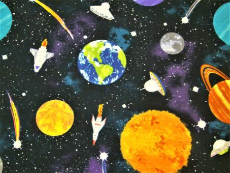 "0,1m Baumwolldruck ""Lost in Space - Planeten"" 114 cm br."