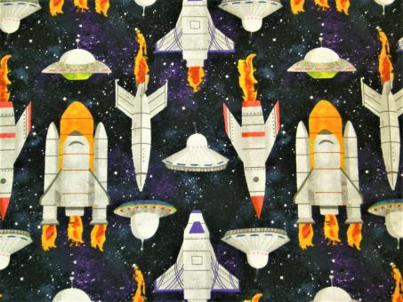 "0,1m Baumwolldruck ""Lost in Space - Raketen"" 114 cm br."