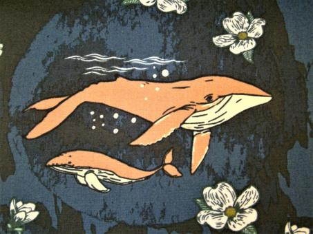 "0,1 m Druckstoff  ""Enchanted Voyage - Wale"" ca. 114 cm br."