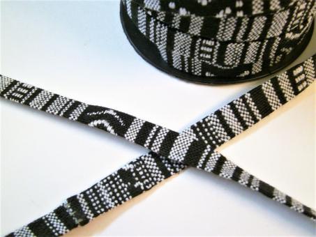 "1 m Stoffband ""Black and White"" 10 mm"