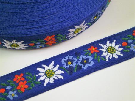 "1 m Webband  ""Alpenflora blau""  30 mm"