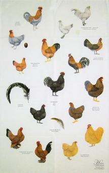 """Baumwoll-Geschirrtuch """"Hühner"""" ca. 48x76 cm"""
