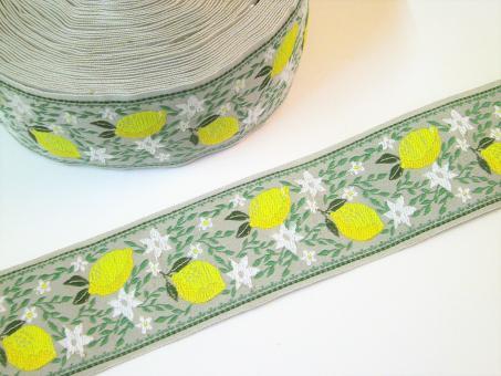 """1 m Webband """"Zitronen und Blumen"""" 40 mm br."""