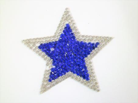 """Applikation """"Blauer Stern"""" ca.70 mm Durchmesser"""
