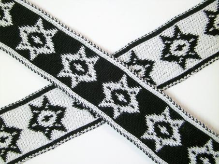 """1 m Strickband """"Island - Stern mit Punkt"""" schwarz-creme 35 mm br."""