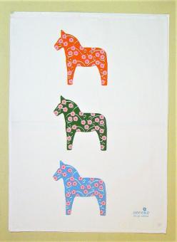"""bedrucktes Halbleinen-Tuch """"Pferde"""" ca. 50x70 cm"""
