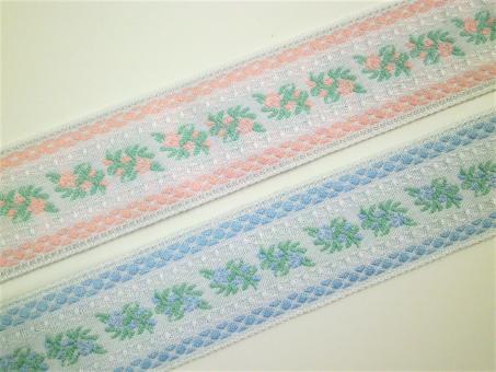 "1 m Webband ""Blütenband pastell"" 30 mm br. Tracht Dirndl Oktoberfest"