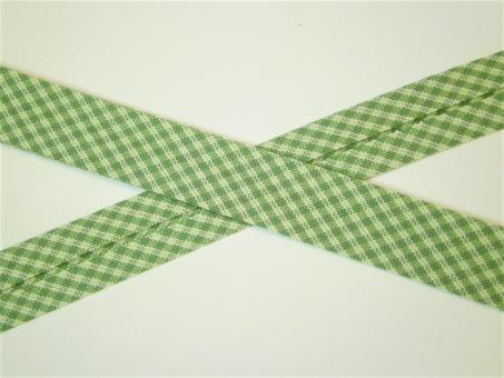 """1 m Schrägband """"Vichykaro - Wales"""" grün-beige Baumwolle Westfalen"""