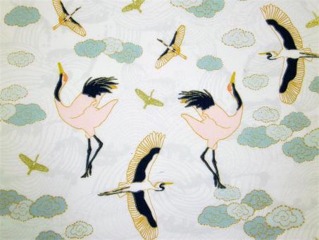 """0,1 m Druckstoff  """"Mystic Cranes- fliegender Kranich"""" ca. 110 cm br."""