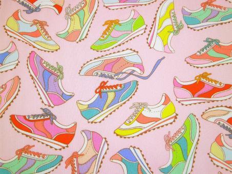 "0,1 m Baumwoll-Druckstoff  ""Summerbreeze - Sneaker""  110 cm br."