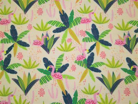 """0,1 m Druckstoff  """"Junglemania - Flamingo"""" ca. 110 cm br."""