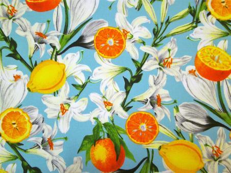 """0,1 m Druckstoff  """"Citrus Garden - Zitronen und Lilien"""" ca. 114 cm br."""