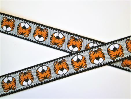 "1 m Webband Farbenmix  ""Tiger Karl silber""  12 mm Design Cherry Picking"