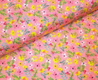 """0,1m Baumwolldruck """"BlumenWildtiere - Blumen"""" ca. 110 cm br."""