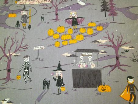 "0,1m feiner Baumwolldruck ""Spooky 'n Sweet - Gruselgestalten"" 114 cm br."