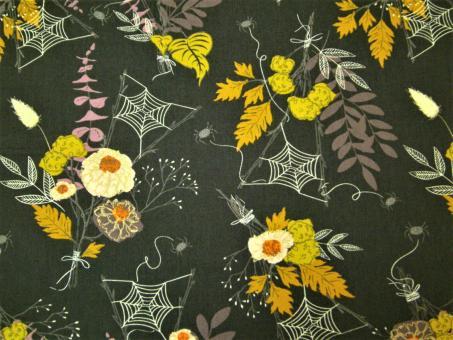 """0,1m feiner Baumwolldruck """"Spooky 'n Sweet - Spinnen"""" 114 cm br."""