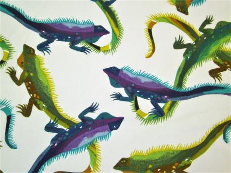 """0,1 m Baumwoll-Druckstoff  """" Iguana""""  110 cm br."""