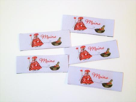 """5er Paket Webetiketten """"Meins"""" Weihnachtskind mit Nußschale 70x20 mm"""