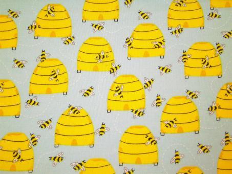 """0,1 m Baumwoll-Druckstoff  """"Feed the Bees"""" Bienen ca. 114 cm Breite"""