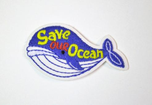 """Applikation """"EcoLover - Save our Ocean"""" ca. 55x30 mm"""
