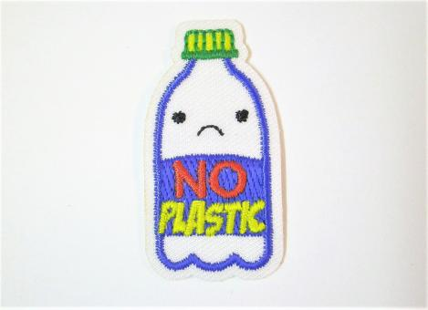 """Applikation """"EcoLover - No Plastic"""" ca. 43x22 mm"""