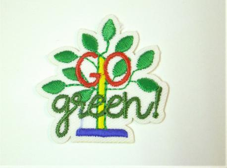 """Applikation """"EcoLover - Go Green"""" ca. 40 mm Durchmesser"""