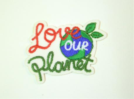 """Applikation """"EcoLover - Love our Planet"""" ca. 45x35 mm"""