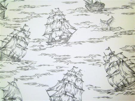 """0,1 m Druckstoff  """"Ruhige See -Schiff""""  ca. 112 cm br."""