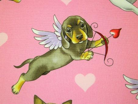 """0,1 m Baumwoll-Druckstoff  """"Puppy Love""""  110 cm br."""