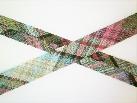 """1 m Schrägband """"Karo rosa-grün"""" Baumwolle"""