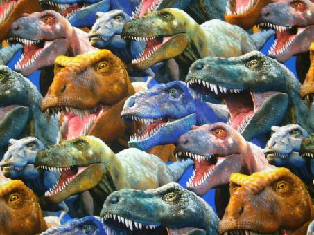 """0,1 m Baumwoll-Druckstoff  """"Dinosaurier - Portrait T-Rex""""  114 cm br."""
