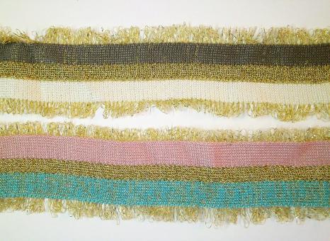 1 m Strickband mit Metallicfranse 45 mm breit