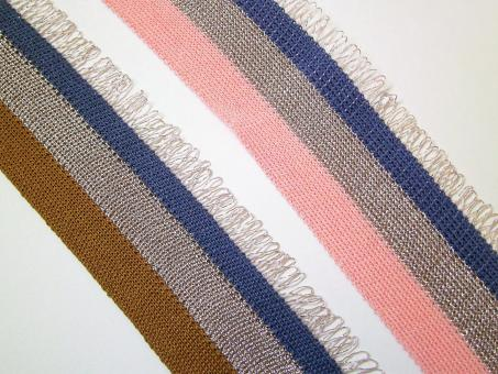1 m Strickband mit Metallicfranse 35 mm breit